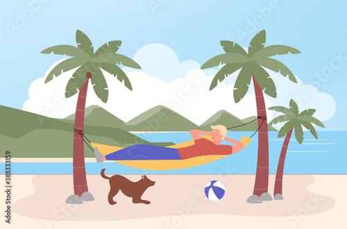 Relax in hammock vector illustration Fototapet