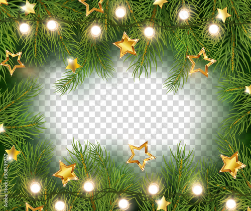 Obraz Border with green fir branches, gold stars and lights isolated on transparent background. Pine, xmas evergreen plants banner. Vector Christmas tree garland frame - fototapety do salonu