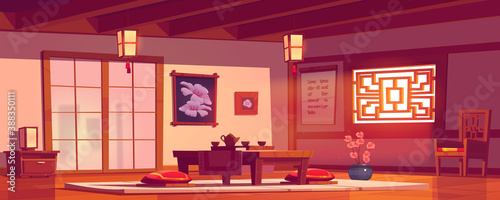 Fotografering Asian restaurant, Chinese or Japanese cafe empty interior in traditional style w