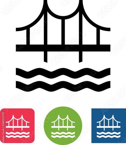 Bridge Over Water Structure Vector Icon Slika na platnu