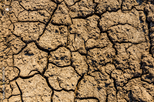 Tela Background of the cracked dry barren soil. Global warming concept