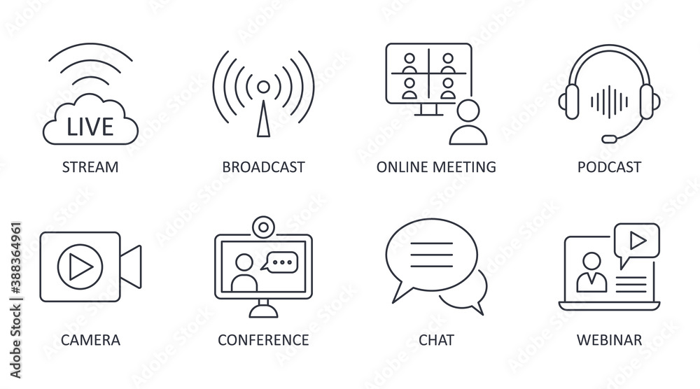 Fototapeta Vector live streaming icons. Set is editable stroke. Stream broadcast online meeting zoom. Podcast headphones camera internet conference chat recording a webinar