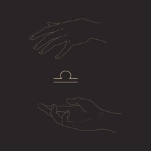 Libra Sign And Magic Hands In Outline Style Isolated On Black Background. Hands Hold Zodiac Symbol. Astrological Or Magic Concept. Vector Illustration For Logotype, Icon, Tattoo, Print