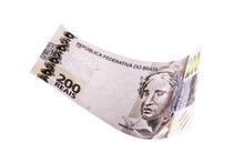 200 Reais Bank Notes, New Banknote From Brazil, On Isolated White Background