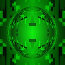 Rectangular Shapes In Shades Of Neon Green And Black Colours Patterns And Deigns Including Spherical Glass Globe