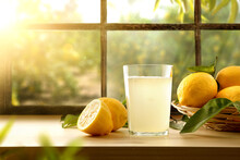 Homemade Lemonade On Kitchen With Window And Orchard Outside