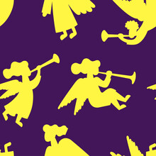 A Seamless Vector Pattern With Christmas Angel Silhouettes. A Purple Background And Gold Angels.