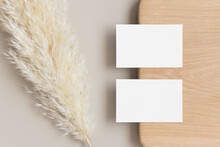 Two White Business Cards Mocku...