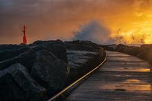 Stormy Sunset Near Lighthouse....