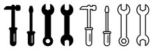 Repair Service Toolkit. Maintenance Spanner And Hammer Silhouette Icons. Isolated Wrench And Screwdriver Symbols On White Background. Settings Pictogram. Fix Emblem. Vector EPS 10.