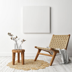 Mockup a poster, square frame with retro armchair, Scandinavian design, 3d render, 3d illustration