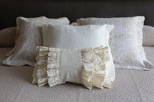Four Beige Natural Fabric, Lin...