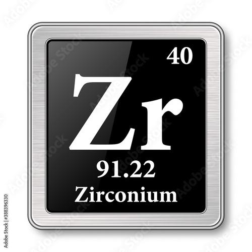Fototapeta The periodic table element Zirconium. Vector illustration