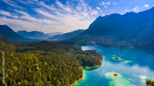 Aerial view of Eibsee lake with Zugspitze mountain in background