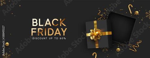 Obraz Black Friday Super Sale. Realistic black gifts boxes. Empty open gift box top view with gold bow. Dark background golden text lettering. Horizontal banner, poster, header website. vector illustration - fototapety do salonu