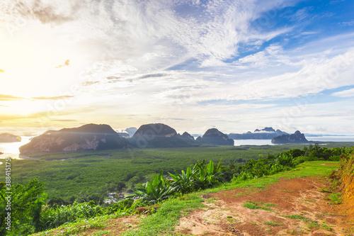 Fototapeta Samet Nangshe viewpoint at sunrise in Thailand.