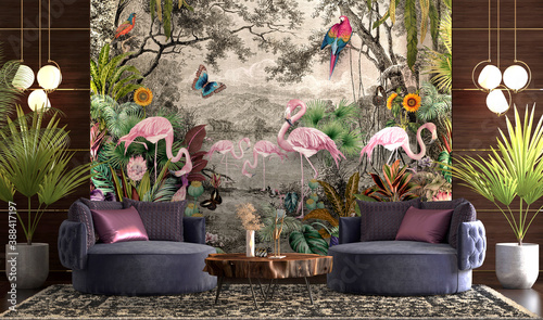 Luxurious session with wallpaper jungle and tropical forest banana palm and trop Fototapete