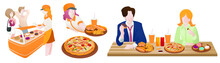Set Of People Flat Vector Illustration. Men And Women Enjoy Eating Junkfood In Fast Food Restaurant At During Working Time. Happiness Moment
