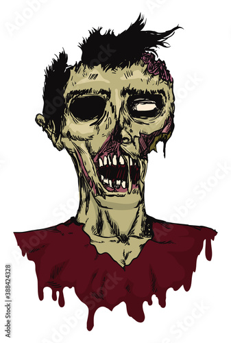 Photo Male Zombie Colored Portrait in Hand Drawn Style, Vector Illustration
