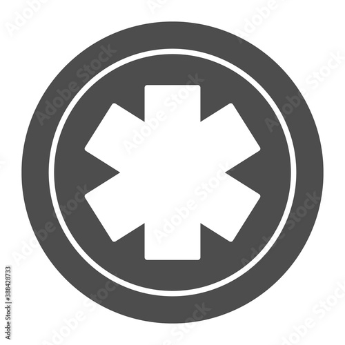 Medical star solid icon, Medical concept, Emergency star sign on white background, medical life star icon in glyph style for mobile concept and web design Canvas Print