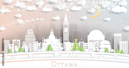 Ottawa Canada City Skyline in Paper Cut Style with Snowflakes, Moon and Neon Garland.