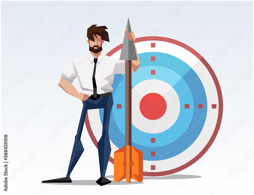 Fototapeta Businessman hitting the target - modern flat design style colorful illustration on white background. An image of a young ambitious man shooting the arrow. Goal achievement concept
