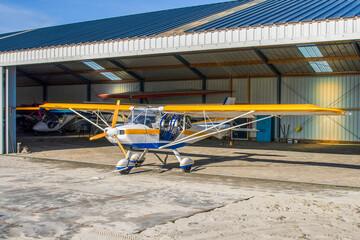 ultralight plane in hangar