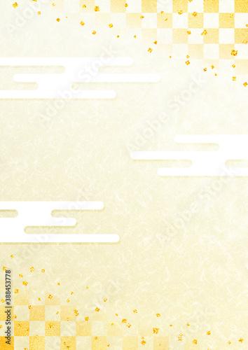 Obraz 雲竜和紙風背景素材 金箔と市松模様と霞 金色のグラデーション背景 縦型 - fototapety do salonu