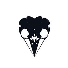 Bird Skull Logo Icon Sign Halloween Symbol Death Emblem Totem Tattoo Hand Drawn Abstract Black Sinister Mystical Style Design Fashion Print Clothes Apparel Greeting Invitation Card Banner Badge Poster
