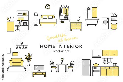 Obraz おしゃれなホームインテリア 家具のアイコンセット - fototapety do salonu