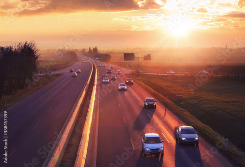 Obraz Highway transportation with cars and Truck - Traffic - fototapety do salonu