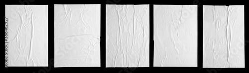 Obraz white paper wrinkled poster template , blank glued creased paper sheet mockup.white poster mockup on wall. empty paper mockup. clipping path - fototapety do salonu