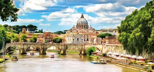 Saint Peter Basilica and Sant'Angelo Bridge, over Tiber river. Rome, Italy. Drawing. Panorama.
