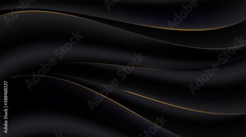 Obraz Black gradient abstract golden curve lines background - fototapety do salonu