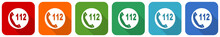 Emergency Call Icon Set, Flat Design Vector Illustration In 6 Colors Options For Webdesign And Mobile Applications