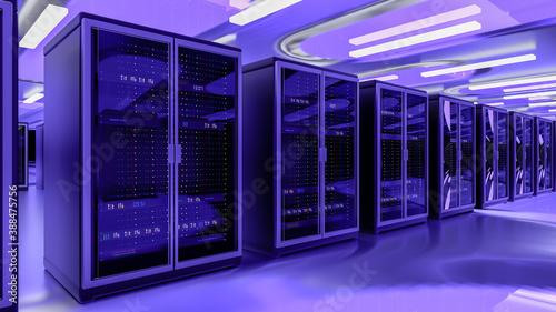 Server room data center Canvas Print