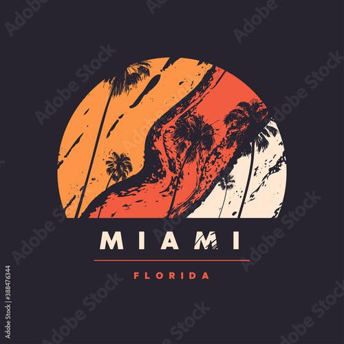 Miami Florida vector graphic t-shirt design, poster, print