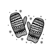 Merry Christmas Decoration Hand Drawn.Doodle Style Greeting Card With Knitted Warm Mittens .