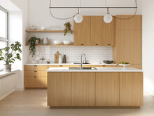 3d Rendering Of A Wooden Scandinavian Kitchen With White Bricks, An Island And Many Plants