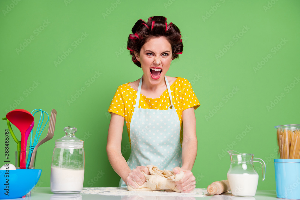 Fototapeta Portrait of her she nice attractive glamorous angry fury mad irritated housewife cooking kneading dough on table desk screaming learning workshop isolated over green pastel color background