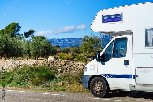 Camper against mountains nature Fototapeta