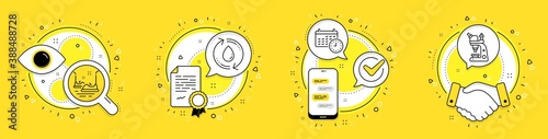 Fototapety, obrazy: Calendar, Refill water and Bumper cars line icons set. Licence, cell phone and deal vector icons. Microscope sign. Time, Recycle aqua, Carousels. Chemistry laboratory. Technology set. Vector