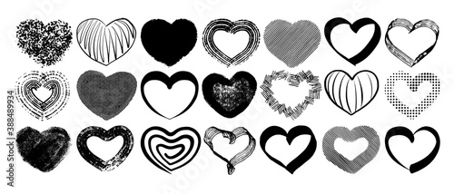 Papel de parede A collection of sketch hearts drawn by hand in ink