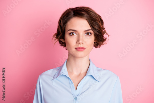 Fototapeta Closeup photo of attractive amazing pretty business lady good mood smiling witho