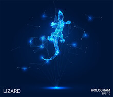 A Hologram Of A Lizard. A Lizard Of Polygons, Triangles Of Points, And Lines. Lizard Low-poly Compound Structure. The Technology Concept.