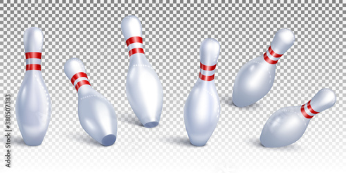 Valokuvatapetti Set Bowling pins falling from different angles