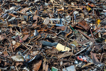 Stack Of Scrap Metal At Recycling Junkyard. Closeup