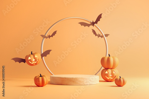 Obraz Minimal Podium or stage and abstract background for Halloween, 3d rendering geometric shape, Stage for product - fototapety do salonu