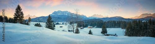 dreamy winter landscape at Buckelwiesen near Krun Mittenwald, bavarian alps at d Billede på lærred