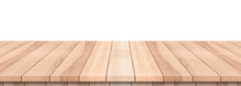 Empty Wood Top Table On Isolated White Background, Included Clipping Path